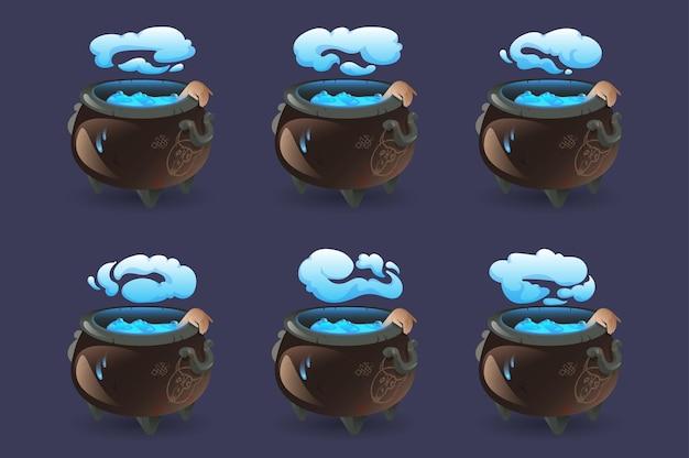 Conjunto de caldeirão de bruxa com poção mágica azul fervente
