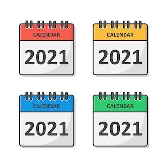 Conjunto de calendário para 2021 anos. ícone plano do calendário 2021