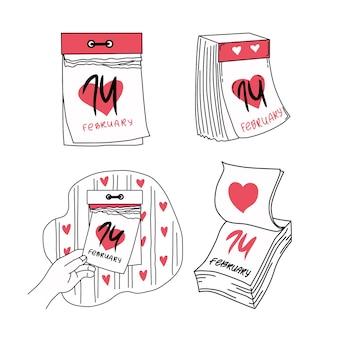 Conjunto de calendários destacáveis em fevereiro. dia dos namorados. ilustração.