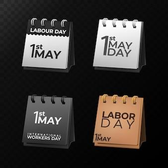 Conjunto de calendários do dia do trabalho em 1 de maio