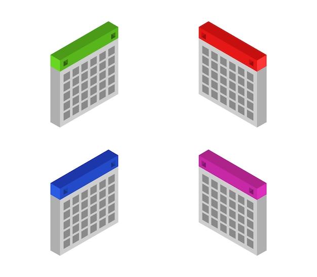 Conjunto de calendários isométricos