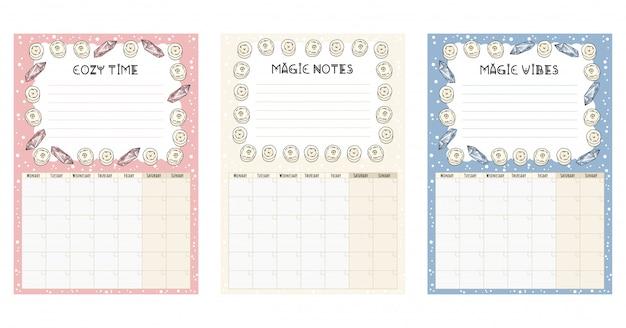 Conjunto de calendários mensais boho com elementos decorativos de velas brancas