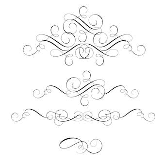 Conjunto de caligrafia de arte decorativa vintage florescer