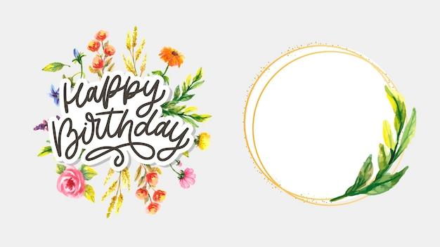 Conjunto de caligrafia de letras de feliz aniversário
