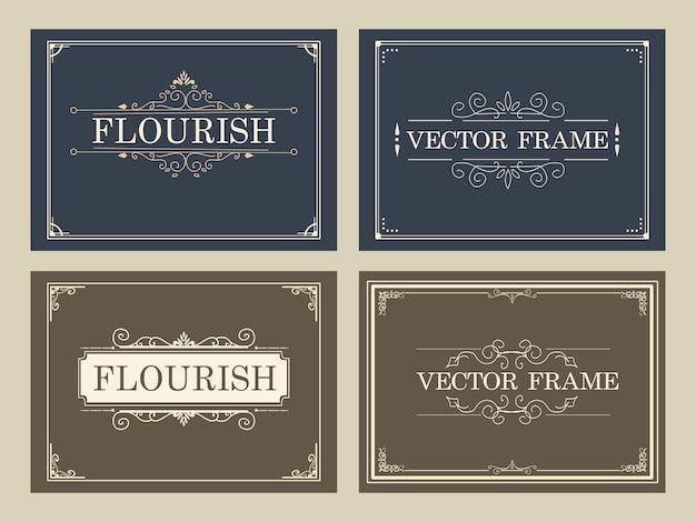 Conjunto de caligrafia de redemoinhos de cartão de ornamento vintage