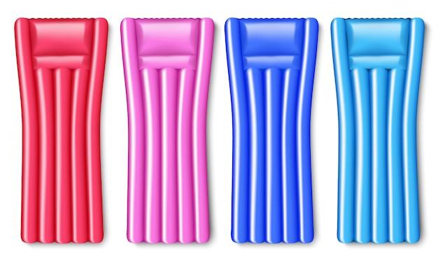 Conjunto de cama de ar insuflável de quatro elementos em cores diferentes.