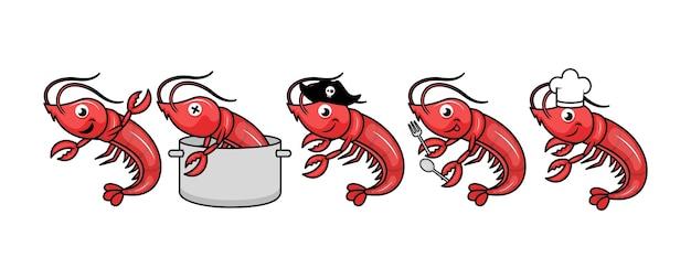 Conjunto de camarões fofos com várias poses de ilustração.