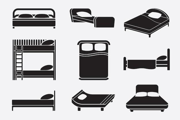Conjunto de camas preto e branco