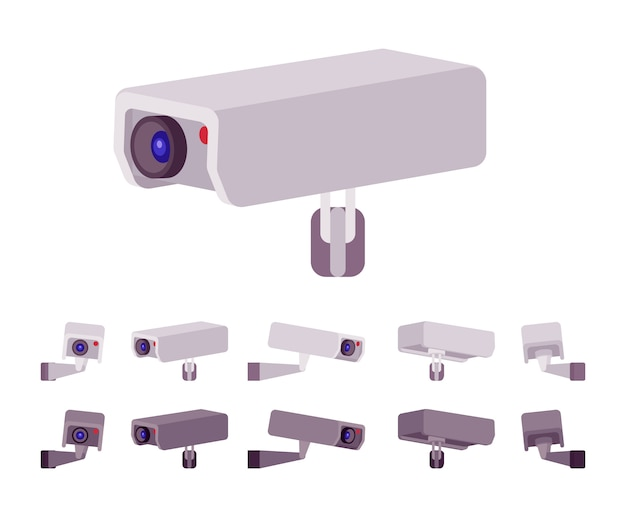 Conjunto de câmera de cftv. sistema de televisão em circuito fechado para gravações ao ar livre, monitoramento. embelezamento de rua da cidade, conceito de design urbano. estilo cartoon ilustração, posições diferentes