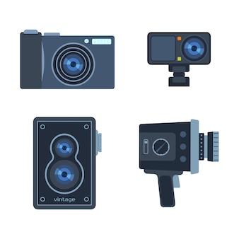 Conjunto de câmera de equipamento digital de fotografia
