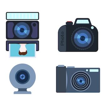 Conjunto de câmera foto retro