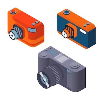 Conjunto de câmera fotográfica isométrica