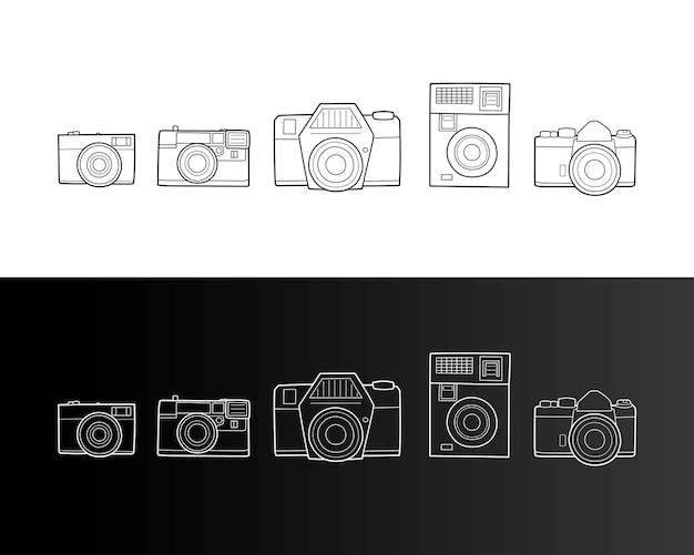 Conjunto de câmera fotográfica retrô