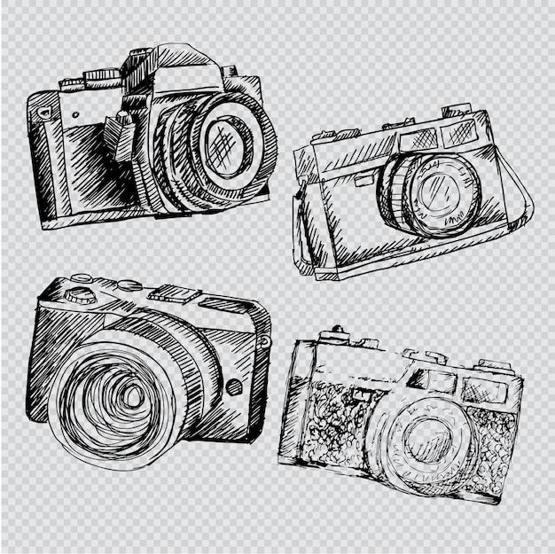 Conjunto de câmera retro desenhada de mão