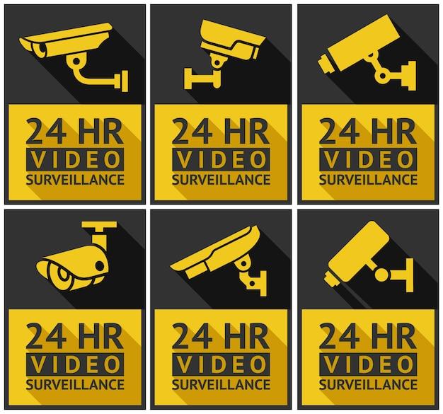 Conjunto de câmeras de segurança de adesivos