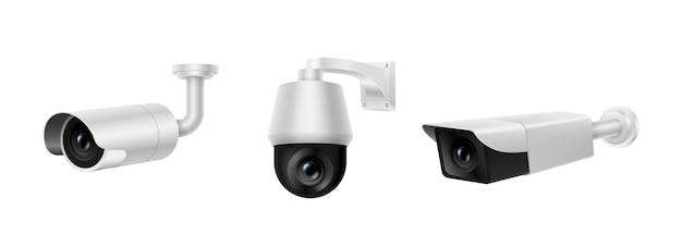 Conjunto de câmeras de segurança de videovigilância. coleção realista de câmeras eletrônicas de registro e inspeção de controle. conceito de tecnologia de sistema de propriedade de proteção. ilustração vetorial 3d