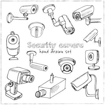 Conjunto de câmeras de segurança desenhadas à mão