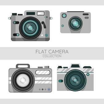 Conjunto de câmeras em design plano