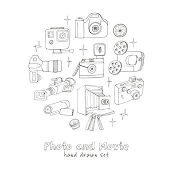 Conjunto de câmeras fotográficas e de filmes para passatempo