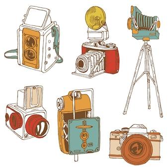 Conjunto de câmeras fotográficas - rabiscos desenhados à mão em vetor