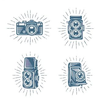 Conjunto de câmeras fotográficas retrô