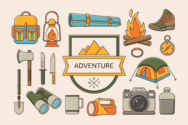 Conjunto de caminhada e acampamento