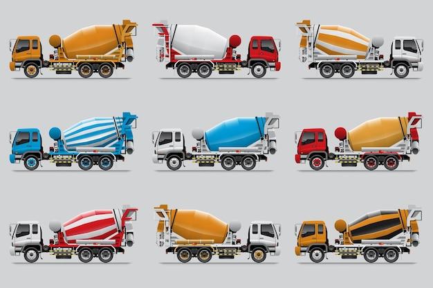 Conjunto de caminhão betoneira, isolado em fundo cinza.