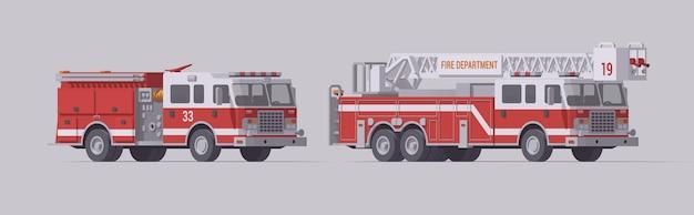 Conjunto de caminhão de bombeiros vermelho. carro de bombeiros de resgate tipo 1 e carro de bombeiros de resgate de escada.