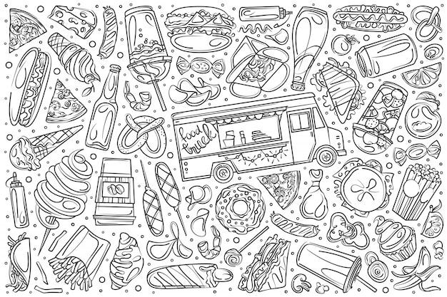 Conjunto de caminhão de comida de mão desenhada doodle