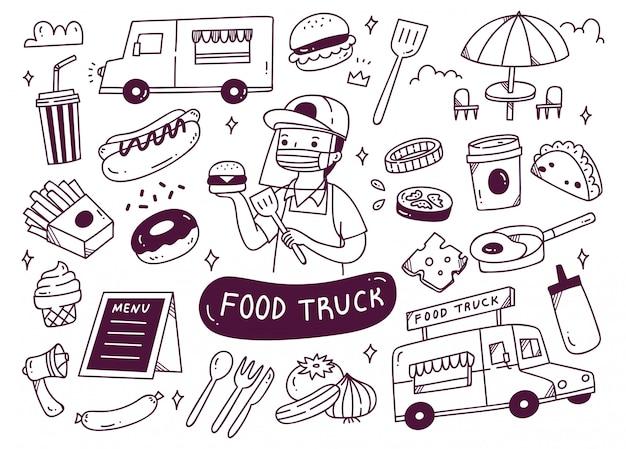 Conjunto de caminhão de comida doodles ilustração