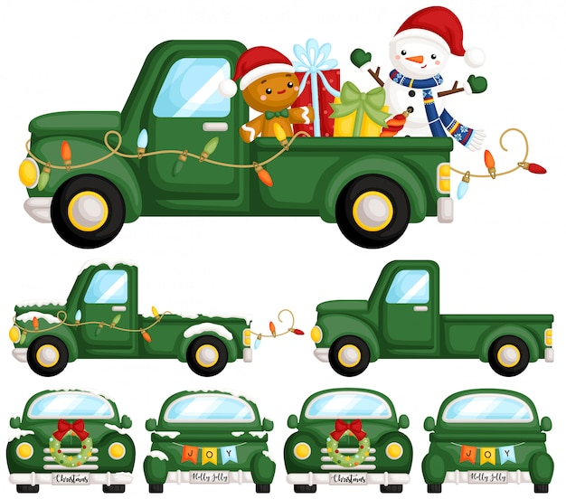 Conjunto de caminhão de natal verde
