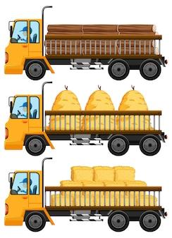 Conjunto de caminhão de reboque carregando feno e madeiras isoladas