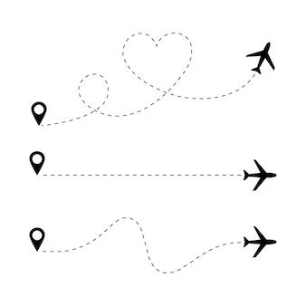 Conjunto de caminho de linha pontilhada do avião. conceito de viagens. vetor eps 10