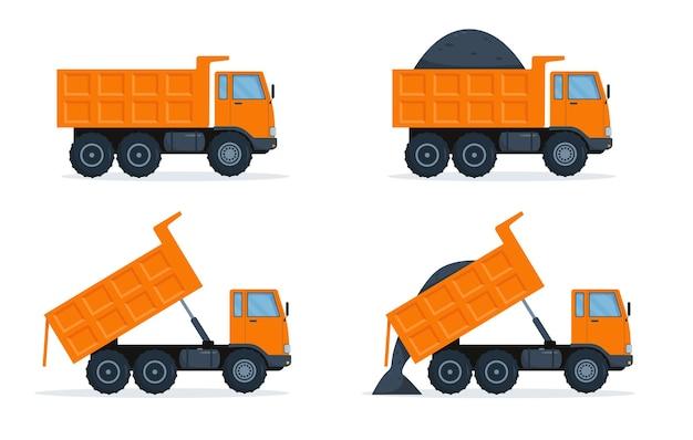 Conjunto de caminhões basculantes laranja isolado no branco