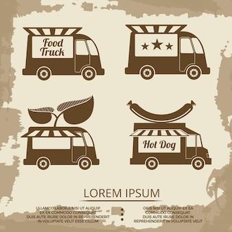 Conjunto de caminhões de alimentos