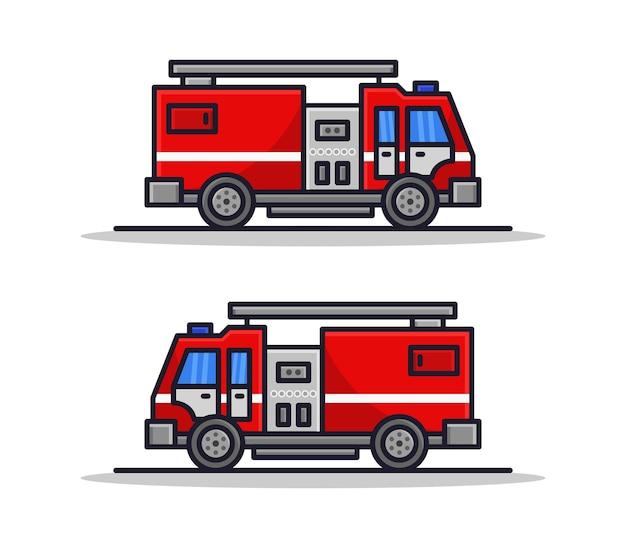 Conjunto de caminhões de bombeiros ilustrados de desenho animado
