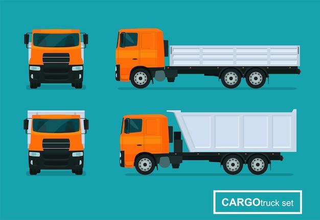 Conjunto de caminhões de carga. vista lateral e vista frontal. ilustração do estilo simples.