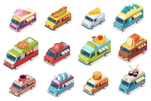 Conjunto de caminhões de comida de rua isolados. van de comida de vetor com fast food e bebida.