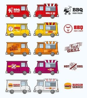 Conjunto de caminhões de comida