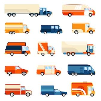 Conjunto de caminhões de entrega