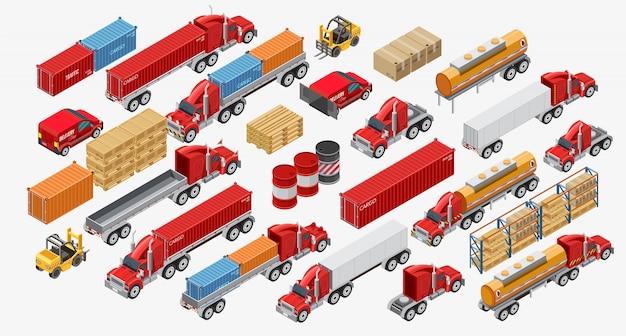 Conjunto de caminhões e mercadorias