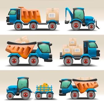 Conjunto de caminhões e tratores para ilustração de transporte