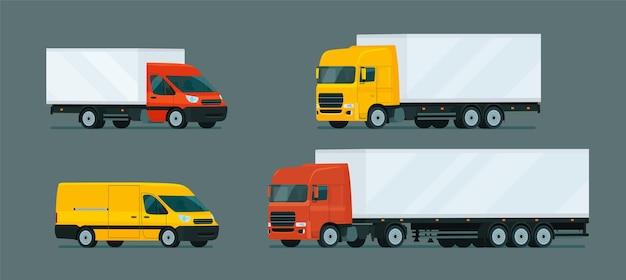 Conjunto de caminhões leves e pesados.