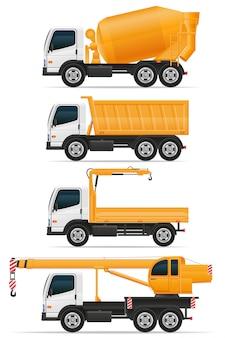 Conjunto de caminhões projetados para ilustração vetorial de construção