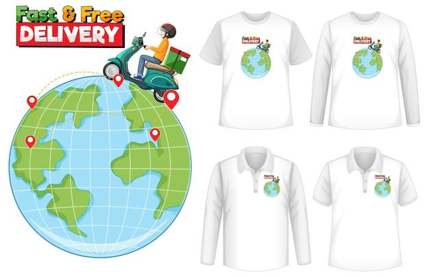 Conjunto de camisa com tema de design de entrega
