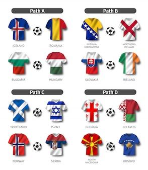 Conjunto de camisa de futebol com bandeira do país