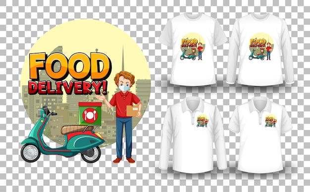 Conjunto de camisa maquete com tema de entrega