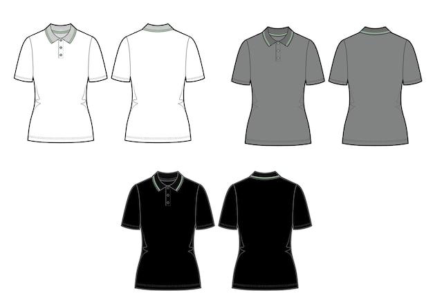 Conjunto de camisa pólo de vetor. modelo de camisa feminina isolado no fundo branco. modelos brancos, cinza e pretos