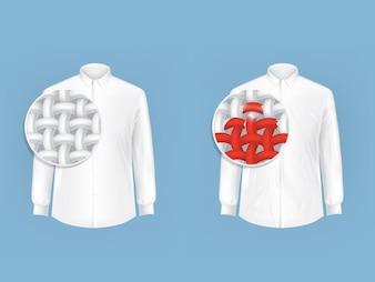 Conjunto de camisas brancas com lupa.