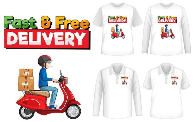 Conjunto de camisas com desenho de entrega